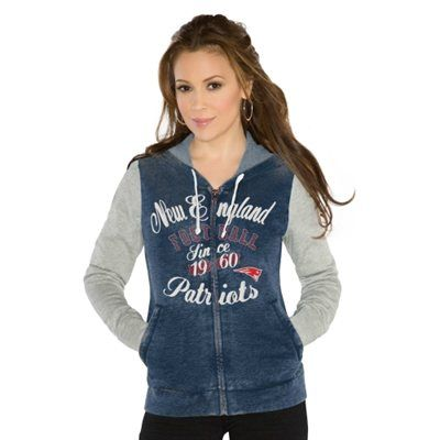Touch by Alyssa Milano New England Patriots Ladies Touchdown Full Zip Hoodie - Navy Blue