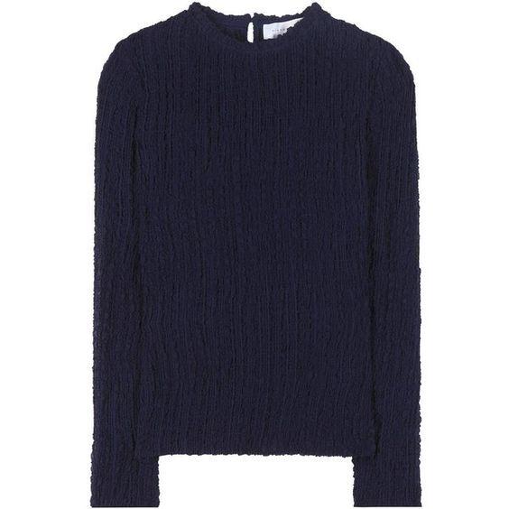 Victoria Beckham Silk Seersucker Top ($650) via Polyvore featuring tops, blue, blue silk top, blue top, victoria beckham, navy blue top and silk top