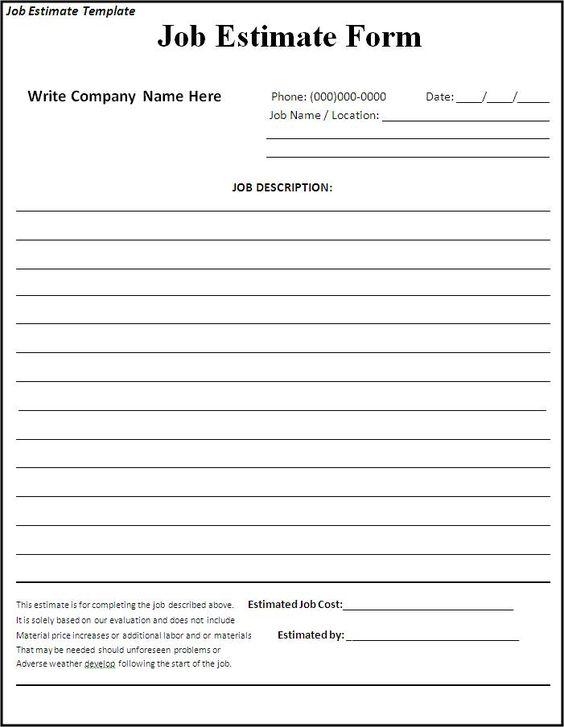 job estimate tempalte 445121 template Pinterest – Job Estimate Template
