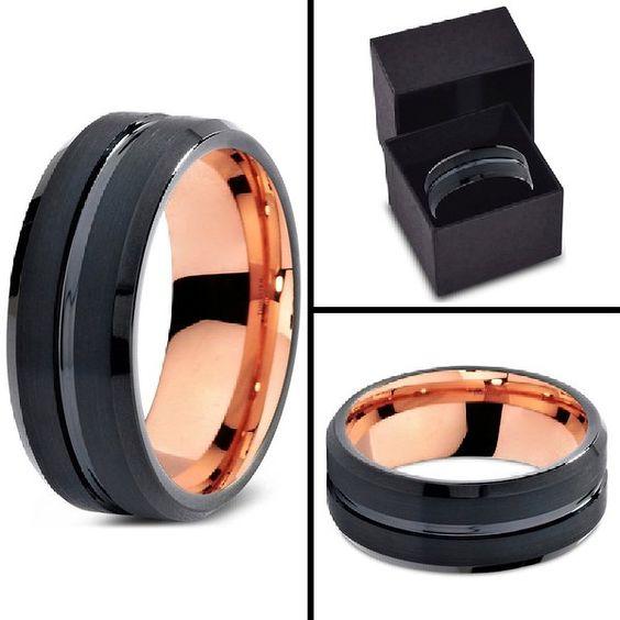Tungsten Wedding Band Ring 8mm for Men Women Black & 18K Rose Gold Beveled Edge Brushed Polished Lifetime Guarantee