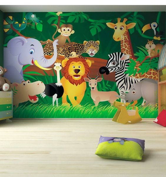 Kids bedroom ideas zoo wall mural kids pinterest for Children wall mural ideas