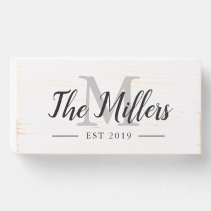 Monogram Established Sign Family Name Wood Sign Zazzle Com Family Wood Signs Wood Signs Wedding Gift Wedding Gift Signs