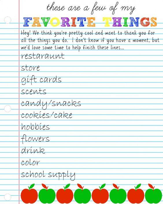 Teacher Appreciation Week: Questionnaire & Gift Ideas
