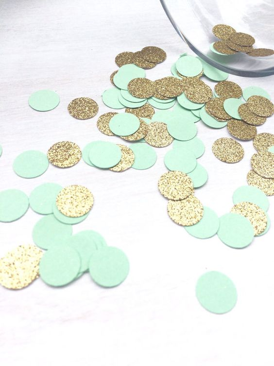 mint and gold confetti