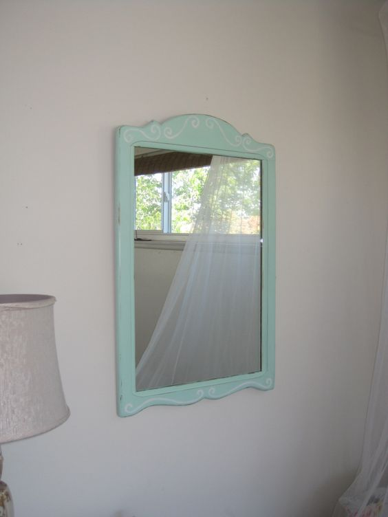 vintage wood framed wall mirror hand painted girls dresser mirror shabby distressed mint green antique dresser framed leaning mirror shabby chic