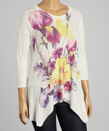 Another great find on #zulily! White & Purple Floral Tee - Plus by Poliana Plus #zulilyfinds