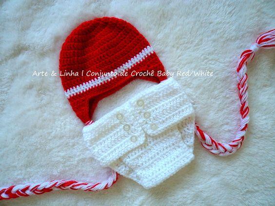 Conjunto de Crochê Baby Red/White artelinharj@gmail.com 62 98146.4188