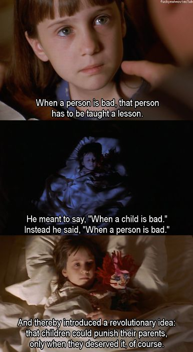 Matilda the best kids movie ever, such great memories of watching it with our three.