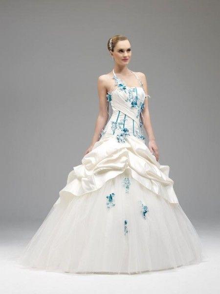 Robe de mariage ivoire colorée annie couture azur