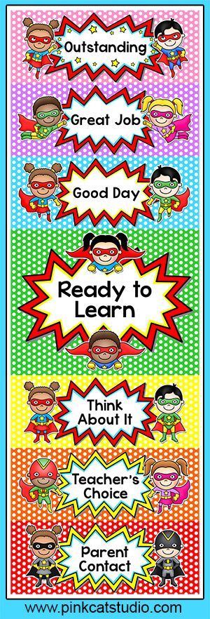 "This superhero kids theme behavior clip chart will look fantastic in your classroom! Encourage your students to have ""SUPER"" behavior and climb to the top of the chart! By Pink Cat Studio:"