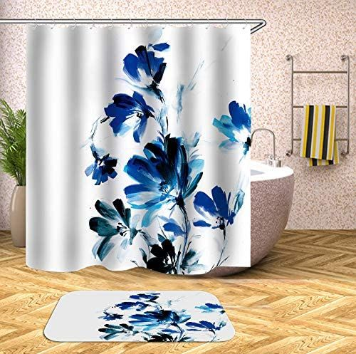 rugs blue flower white shower curtain