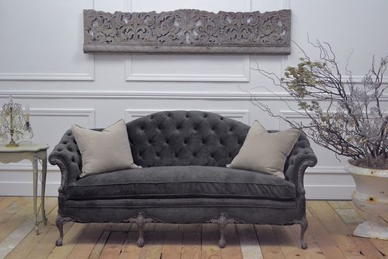 I think I will recover my antique sofa in gray velvet.