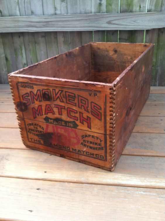 Very rare smokers match antique shipping crate early 1900 for Where can i find old wine crates