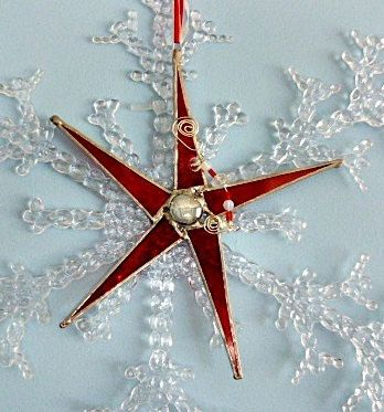 Bright Red Stained Glass Christmas Star by miloglass on Etsy, $16.00