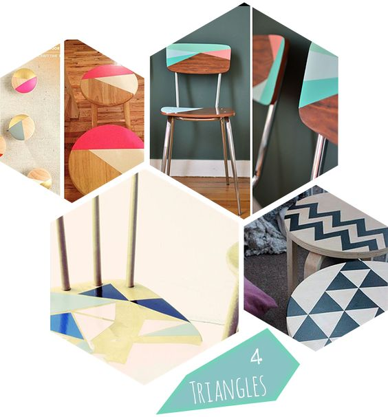 Google triangles and bricolage on pinterest - Relooker chaise bois ...