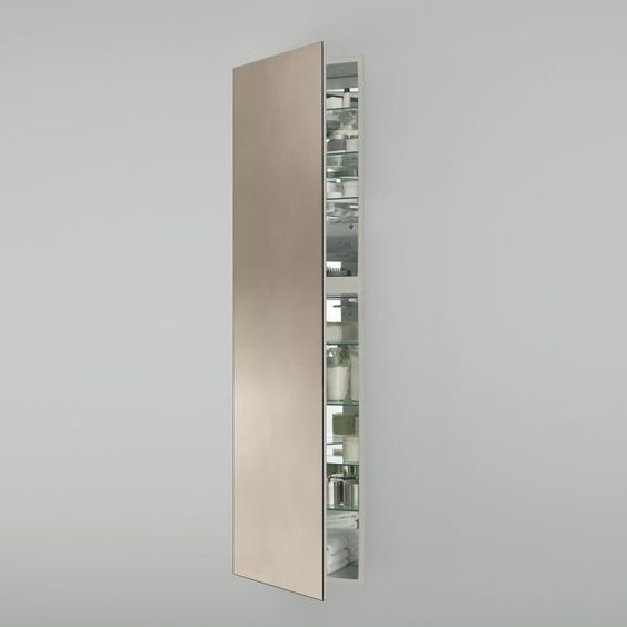 19 1 4 X 70 X 4 Full Length Cabinet In Satin Bronze With Pencil Edge Mirror Left Hinge And