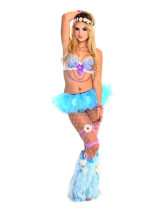 this image of our trendy rave babe pixie in the spring daisy outfit