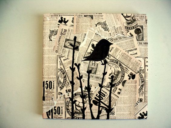 Antique newspaper art on wood block with bird silhouette. $17.99, via Etsy.