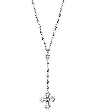 Black Skull Rosary Necklace