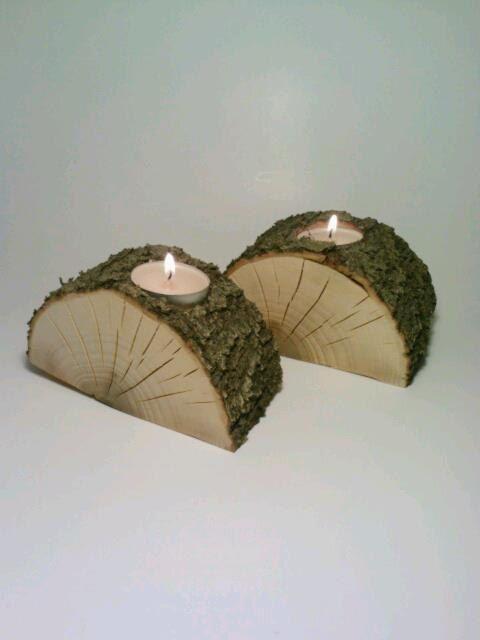 Split Log Tealight Candle Holder Centerpiece by DeerwoodCreekGifts, $20.00