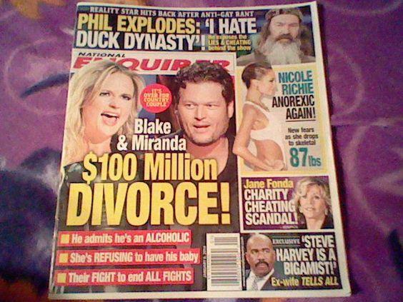 National Enquirer January 6,2014;Blake & Miranda,Phil,Harvey's…