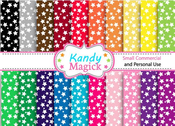 BUY 2 Get 1 FREE 20 Digital Papers. Pretty Stars in by KandyMagick, £1.10