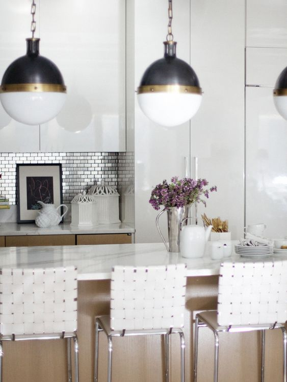 Modern Kitchen with White Lacquer Cabinetry #white #kitchen