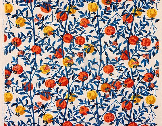 Granatäpple (natural/turquoise) - Design: Gocken Jobs (1961) www.jobshandtryck.se