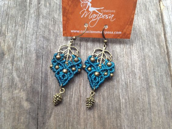 micro macrame earrings Leaf elven pinecone par creationsmariposa, $20.00