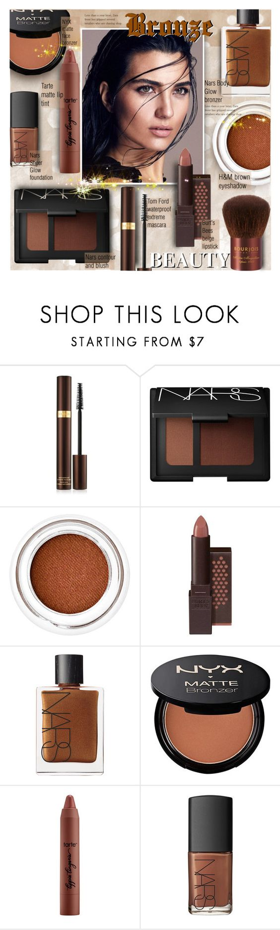 """Bronze Beauty"" by alexandrazeres ❤ liked on Polyvore featuring beauty, Tom Ford, NARS Cosmetics, Burt's Bees, tarte, Bourjois, bronzer, cosmetics, makeupset and bronzebeauty"
