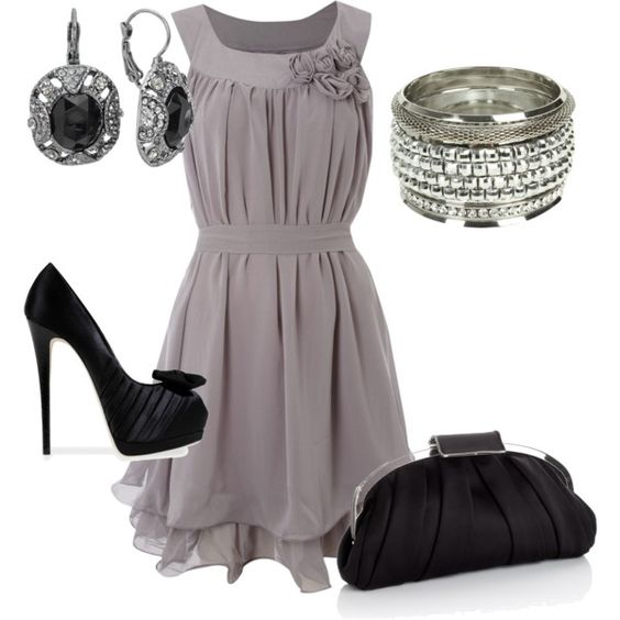 """""""Pretty"""" by jenna-dvi on Polyvore: Grey Black, Party Outfit, Gray Dress, Dream Closet, Night Outfit, The Dress, Date Nights, Wedding Outfit"""