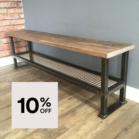 Reclaimed Industrial Scaffold Board Bench With Metal Frame Welded Furniture Metal Furniture Modern Industrial Furniture