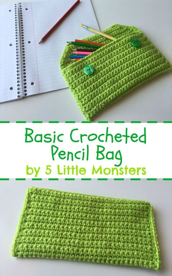 5 Little Monsters: Back to School: Basic Crocheted Pencil Bag: