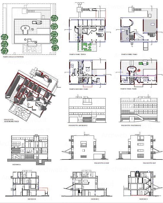 Stein house 2d villa a garches dwg architettura for Villa plan dwg
