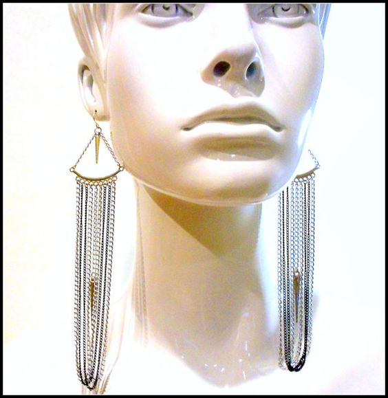 Draped MultiChain Earrings   with Silver Spikes  by VitalMadness, $19.00