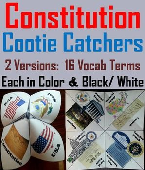 These cootie catchers/ fortune tellers are a great way for students to have fun while learning about the American Constitution. How to Play and Assembly Instructions are included.These Cootie Catchers contain the following:1.