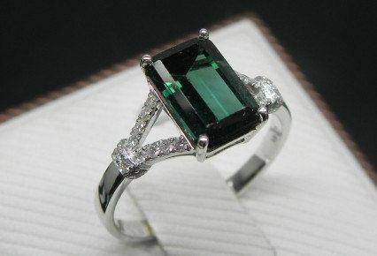 Engagement Ring -  2 Carat Green Tourmaline Ring With Diamonds In 14K White Gold
