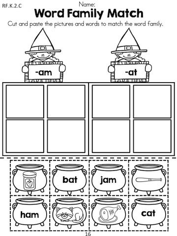 Printables Kindergarten Language Arts Worksheets halloween kindergarten language arts worksheets cut and paste word family match children words pictures to matching word