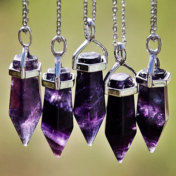 The Neptune necklace ($16) in Purple Fluorite  BadWitchBoutique.com