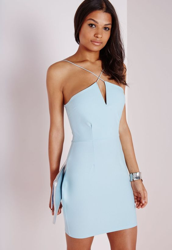 Mix up your dress collection with this head-turningly hot powder blue bodycon dress! With crossed straps to the front and figure flattering design, make sure you've got this piece in your wardrobe. For an ultra chic finish, style with some ...