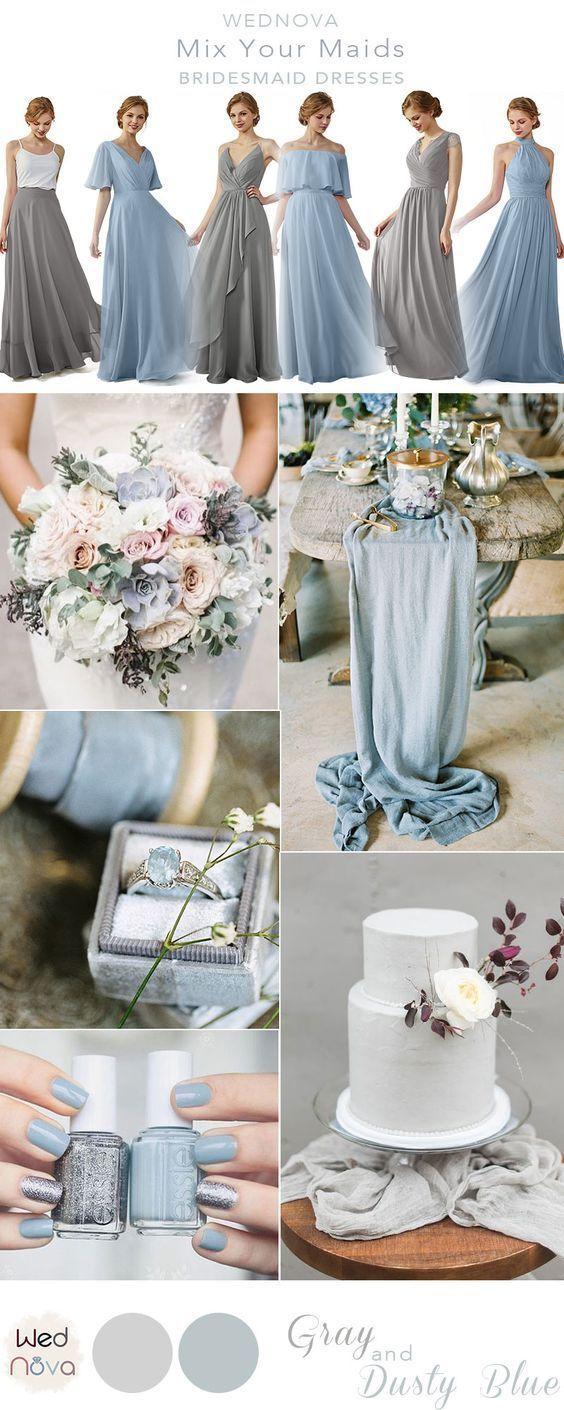 Dusty blau und grau Brautjungfer Kleid mischen und passen zu Ihrer