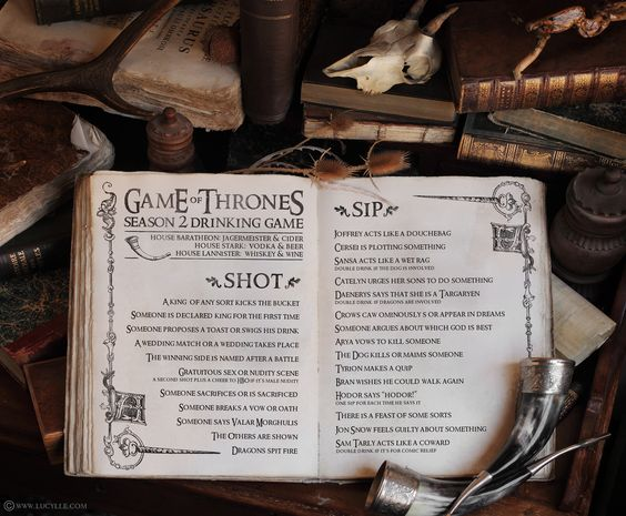 Season 2 Game of Thrones Drinking Game. Sign me up!