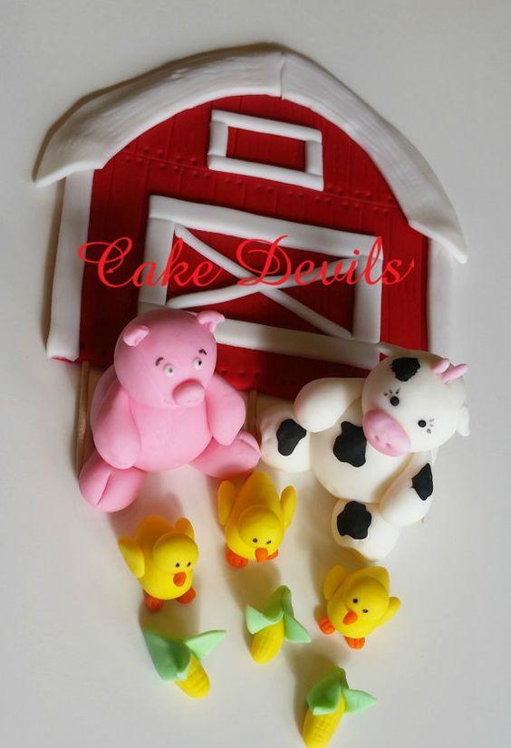 flat barn farm animal fondant cake topper kit handmade. Black Bedroom Furniture Sets. Home Design Ideas