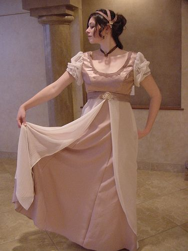 This is an original gown from the early Regency, accented with a delicate tulle overlay and featuring slim sleeves. Description from pinterest.com. I searched for this on bing.com/images