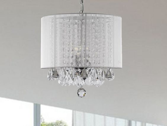 Modern Round Crystal Chandelier > $108.00 Large White Drum Shade - http://ynueco.net/modern-round-crystal-chandelier-108-00-large-white-drum-shade/