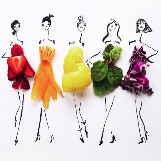 On reste avec la nourriture pour découvrir cette fois-ci les délicieuses illustrations de mode composées uniquement de fruits et de légumes signéesGretchen Röehrs.  Couleurs nature C'est dans la belle ville de San-Francisco aux Etats-Unis que cette illustratrice de mode met en images ses: