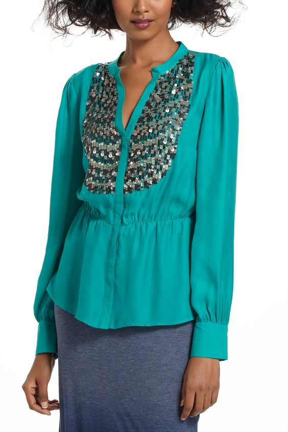Sequined Peplum Buttondown - anthropologie.com