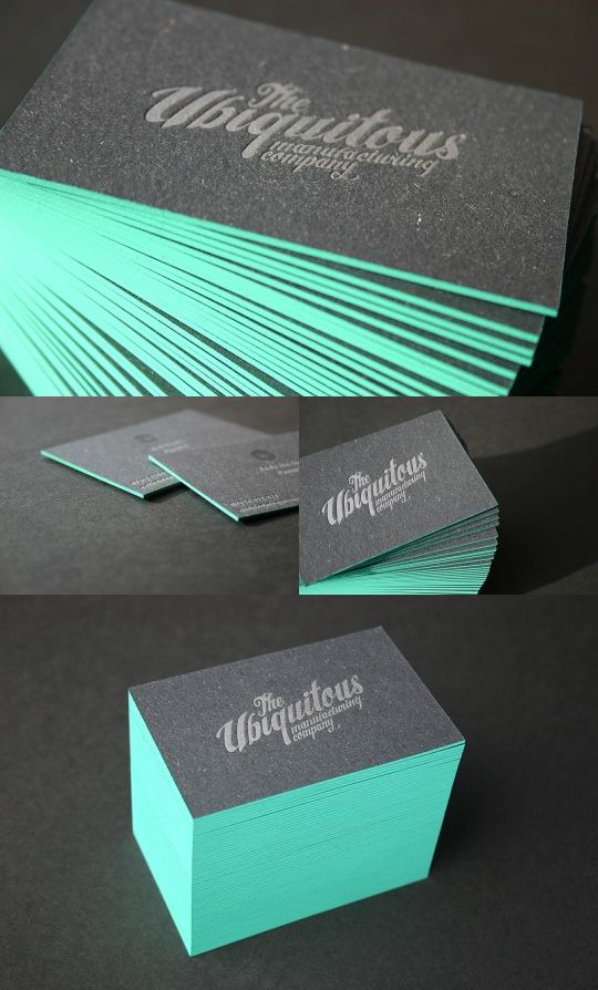 Edge painted business cards by Blush (great colors + edge painting)