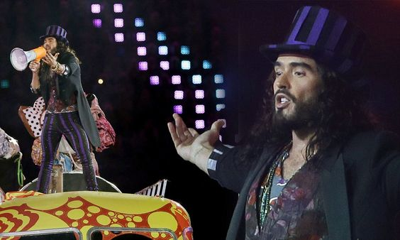 I am the Walrus! Russell Brand channels Willy Wonka in striped trousers as he performs at the Olympic closing ceremony
