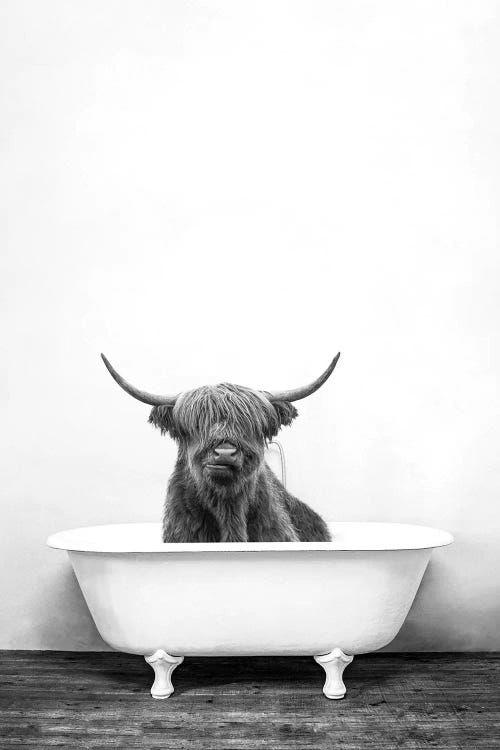 Highland Cow Print Black and White Highland Cow Wall Art Highland Cow Blowing Bubble Bull Print Farm Animal Print Farm Decor